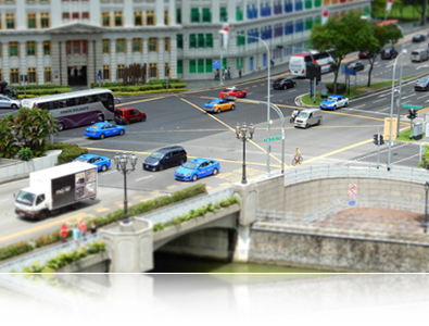 COOLPIX A900 photo of a street with cars shot in miniature mode