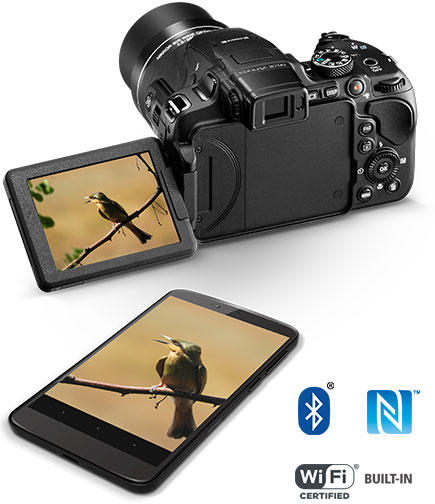 Photo of the COOLPIX B700 with a photo of a bird on a branch on the LCD and on a smartphone, with Wi-Fi, NFC and Bluetooth logos