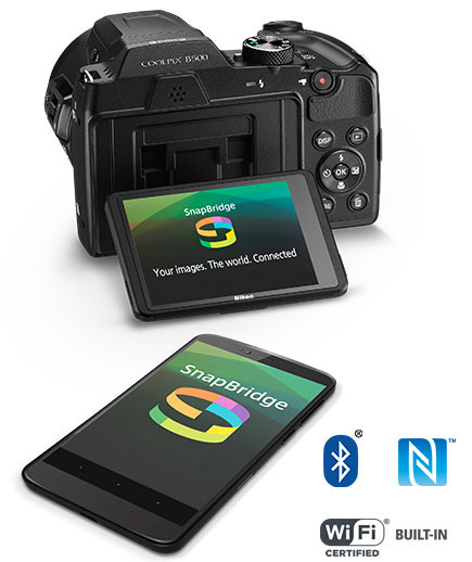COOLPIX B500 and a smartphone with the SnapBridge logo on the LCDs