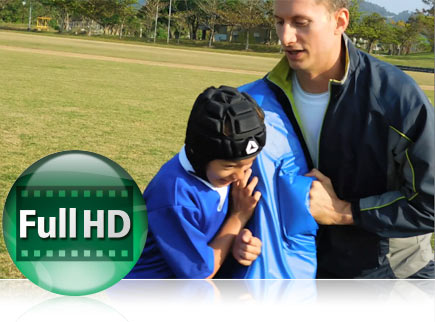 Video icon and rugby player with coach