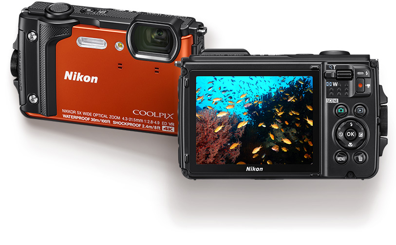 COOLPIX W300 front and back, with an image of fish underwater on the LCD