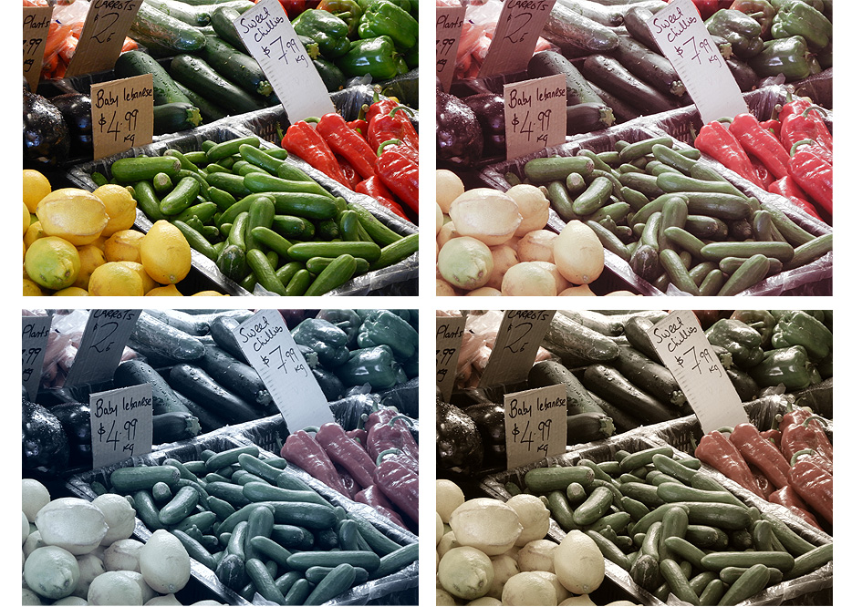 Four photos of vegetables and fruit at a farmer's market, with different creative effects for each one, shot with the W300
