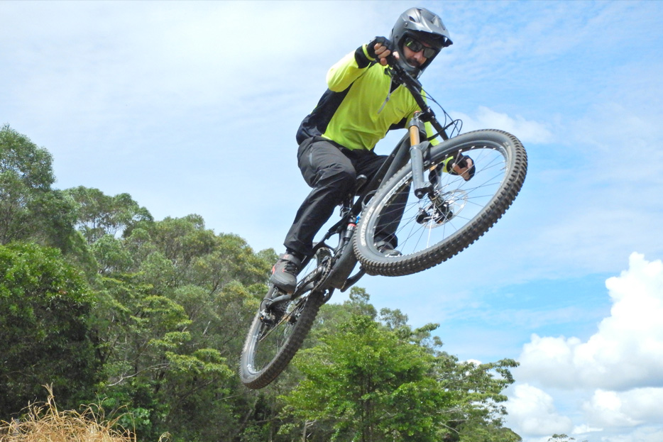 Photo of a mountain biker in air, shot with the W300