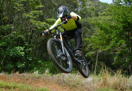 Photo of a mountain bike rider shot with the COOLPIX W300