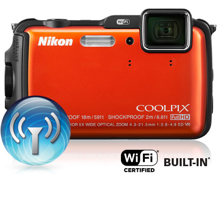 Photo of the COOLPIX AW120, Wi-FI icon and Wi-Fi certified built-in logo