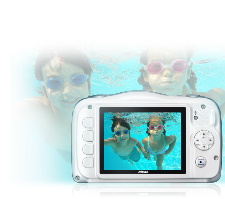 COOLPIX S33 photo of a boy and girl smiling underwater holding hands