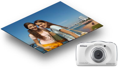 Photo of two girls shot with the COOLPIX S33 and a product shot of the camera in white