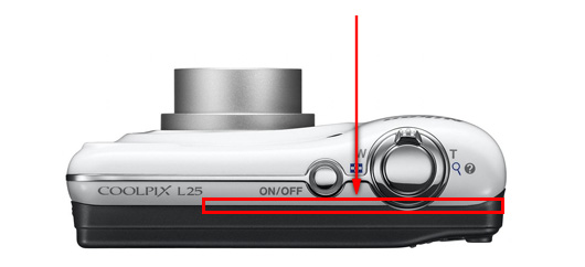 Location of the separation that can occur between the front and rear covers at the top of the COOLPIX L25
