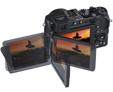 Composite photo of the COOLPIX P7800's Vari-angle LCD and the photo of the surfer in silhouette