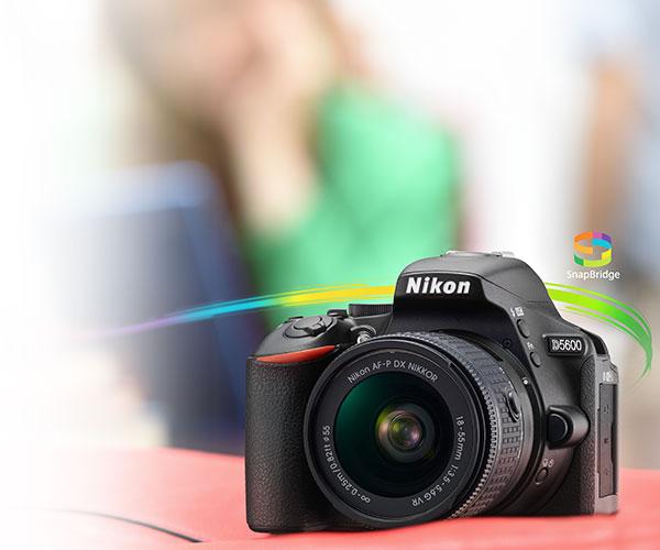 Photo of the Nikon D5600 DSLR with the SnapBridge logo