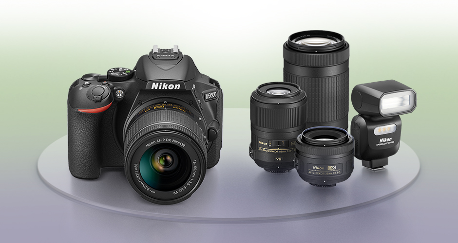 photo of the Nikon D5600 DSLR and NIKKOR lenses and a Nikon Speedlight