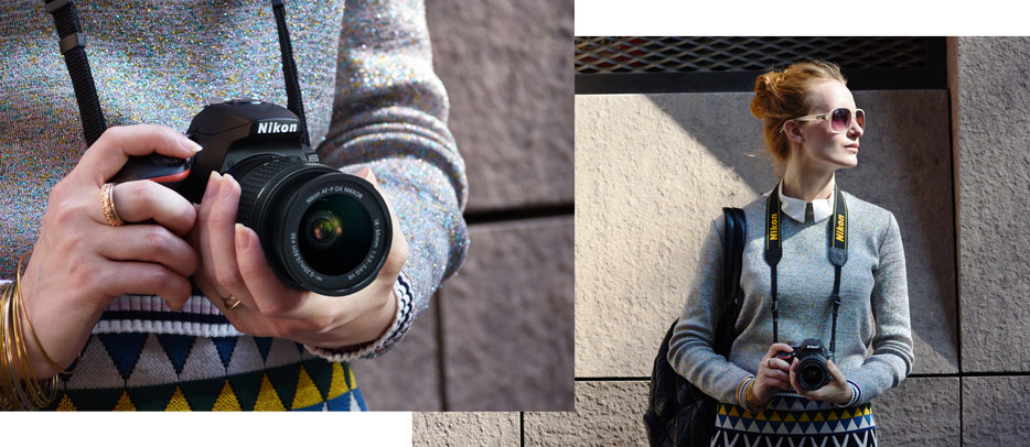Photo of a woman with a D5600 around her neck, inset with a closeup of the camera in her hands