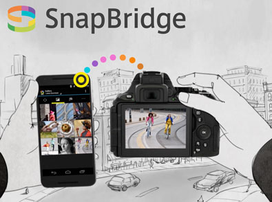 Illustration showing a camera and smartphone with SnapBridge