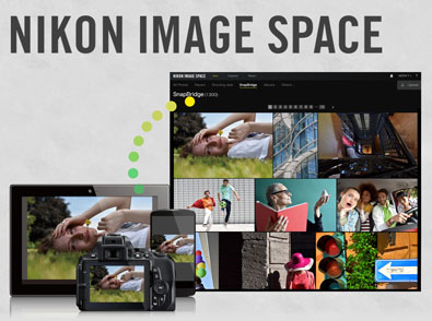 Illustration showing ease of transferring photos from the camera or smart device to Nikon Image Space using SnapBridge