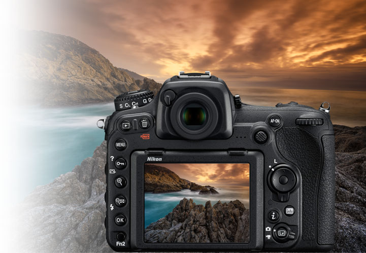 Hero image of a dramatic sunset landscape with the D500 rear view overlayed and the same landscape image on the LCD