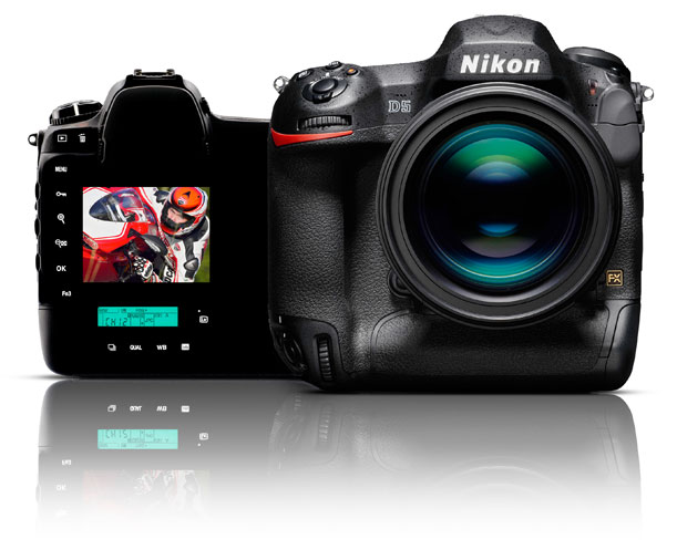 Photo of the front of a Nikon D5 DSLR and the rear of the camera with an image of a motorcycle rider on the LCD