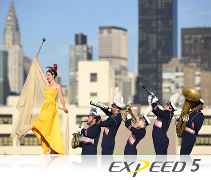 D5 DSLR photo of a woman in a yellow dress leading a marching band