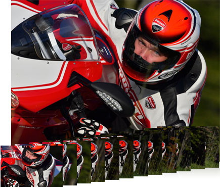 Photo of a motorcycle rider inset with smaller photos of the same rider shot at 12 fps