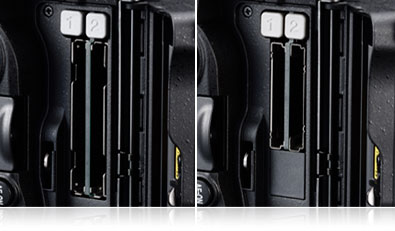 Side by side photos of the twin XQD and twin CF card slots of the D5