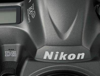 close up photo of the top of the D5 anniversary DSLR