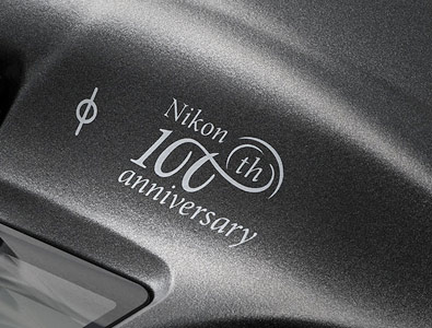close up of the Nikon 100th anniversary logo