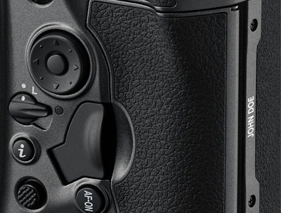 close up of the engraving on the anniversary edition D5 DSLR