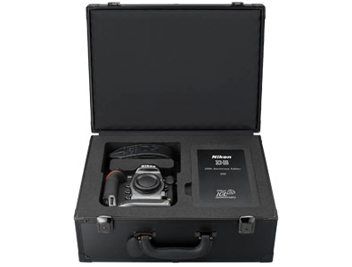 photo of the D5 anniversary edition camera and accessories in the supplied case