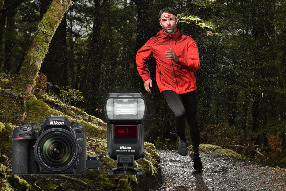 Photo of a man running in the forest, with the camera and SB-5000 Speedlight flash inset