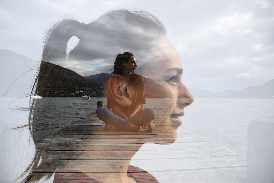 Multiple exposure photo of a woman sitting on a pier and a close up of her profile