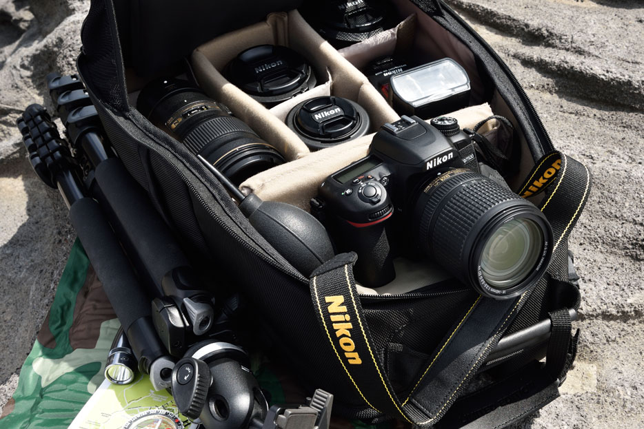 Photo of a camera backpack, filled with Nikon gear