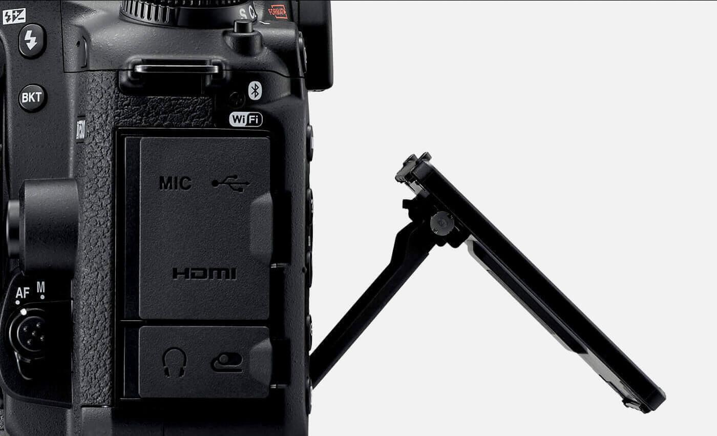 foto de la D7500 con la pantalla táctil con inclinación tomada desde el costado