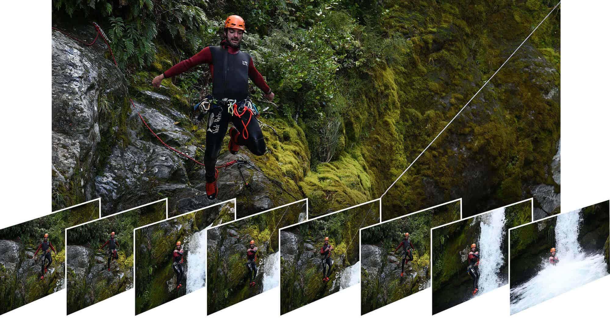 Foto de un hombre saltando desde una cascada y 8 fotos más pequeñas en la parte inferior que muestran la progresión de sus movimientos