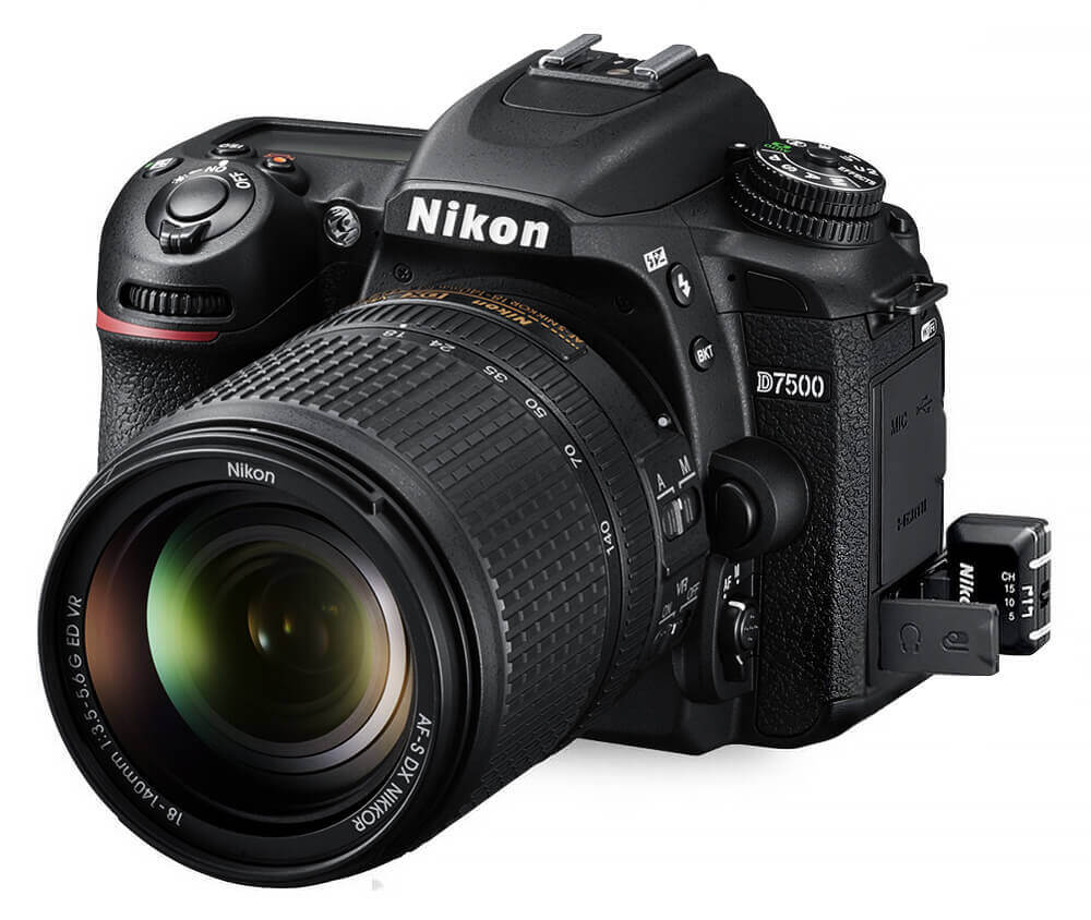Side view of a Nikon DSLR with hot spots indicating different features.