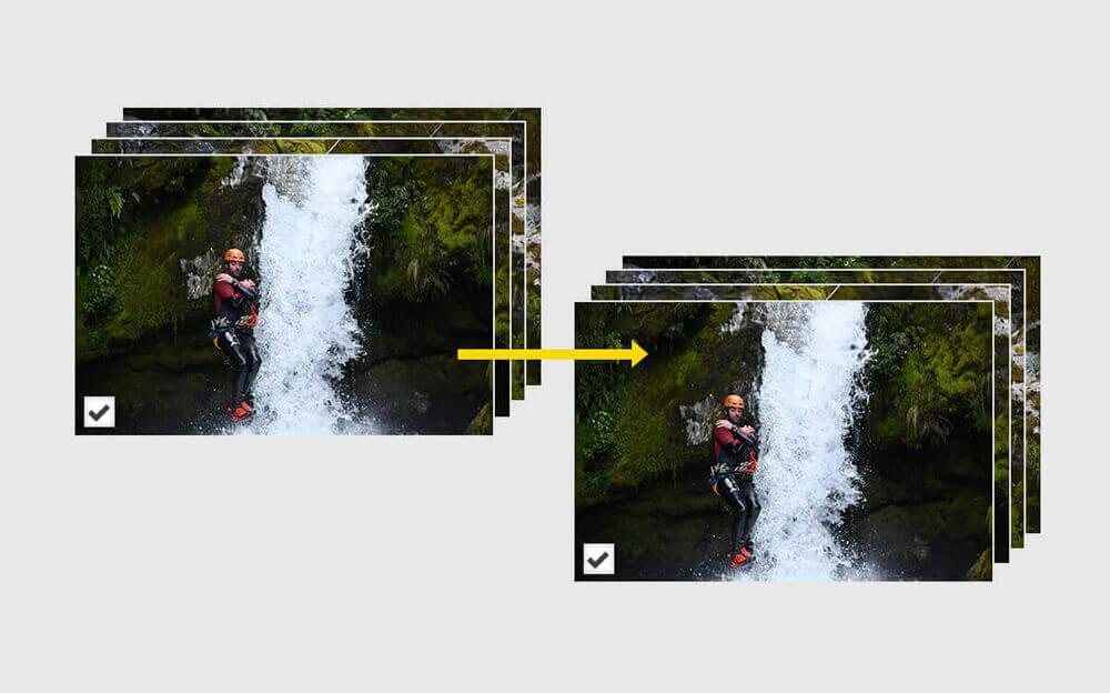 Pila de imágenes JPEG junto a otra pila de imágenes JPEG con una flecha amarilla que representa el procesamiento por lotes