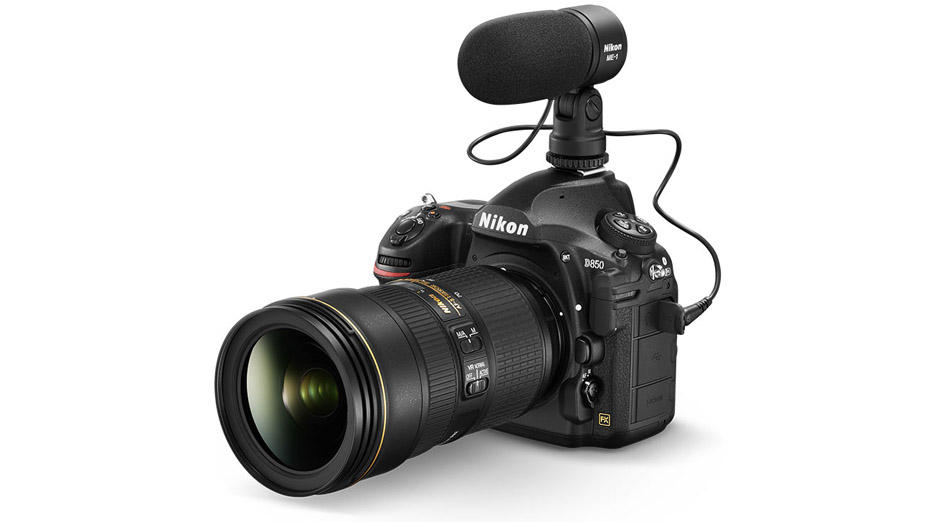 Photo of the D850 DSLR with a NIKKOR lens and the Nikon ME-1 stereo microphone attached