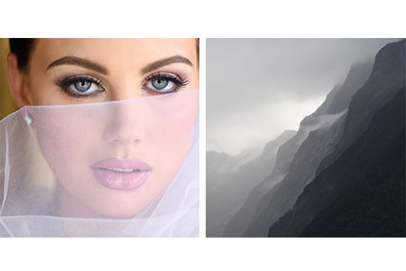 side by side photos of a bride and a B&W landscape in square formats