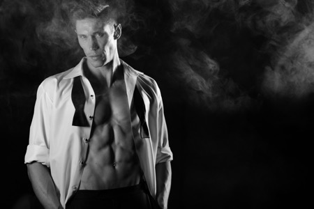 B&W photo of a male model
