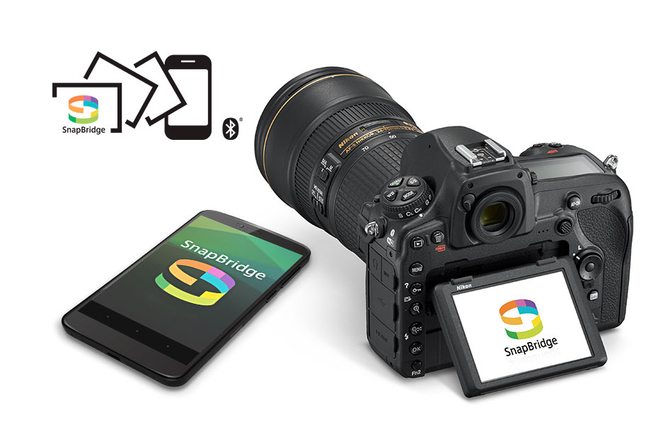SnapBridge logo and D850 DSLR and smartphone with the SnapBridge logos