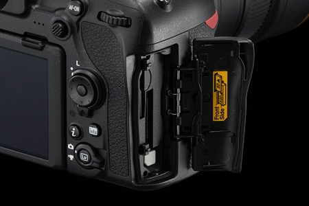 close up photo of the card slot of the D850 DSLR