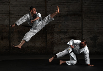 D850 DSLR photo of two karate fighters in low light