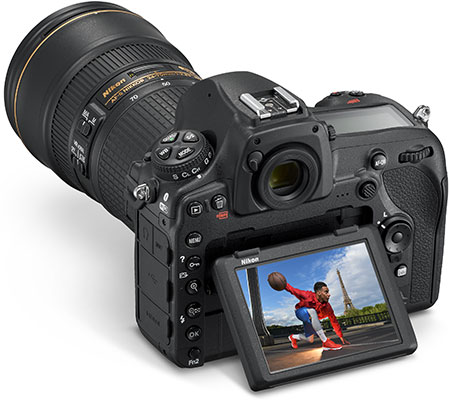 Photo of the D850 DSLR with a shot of an athlete on the tilting LCD