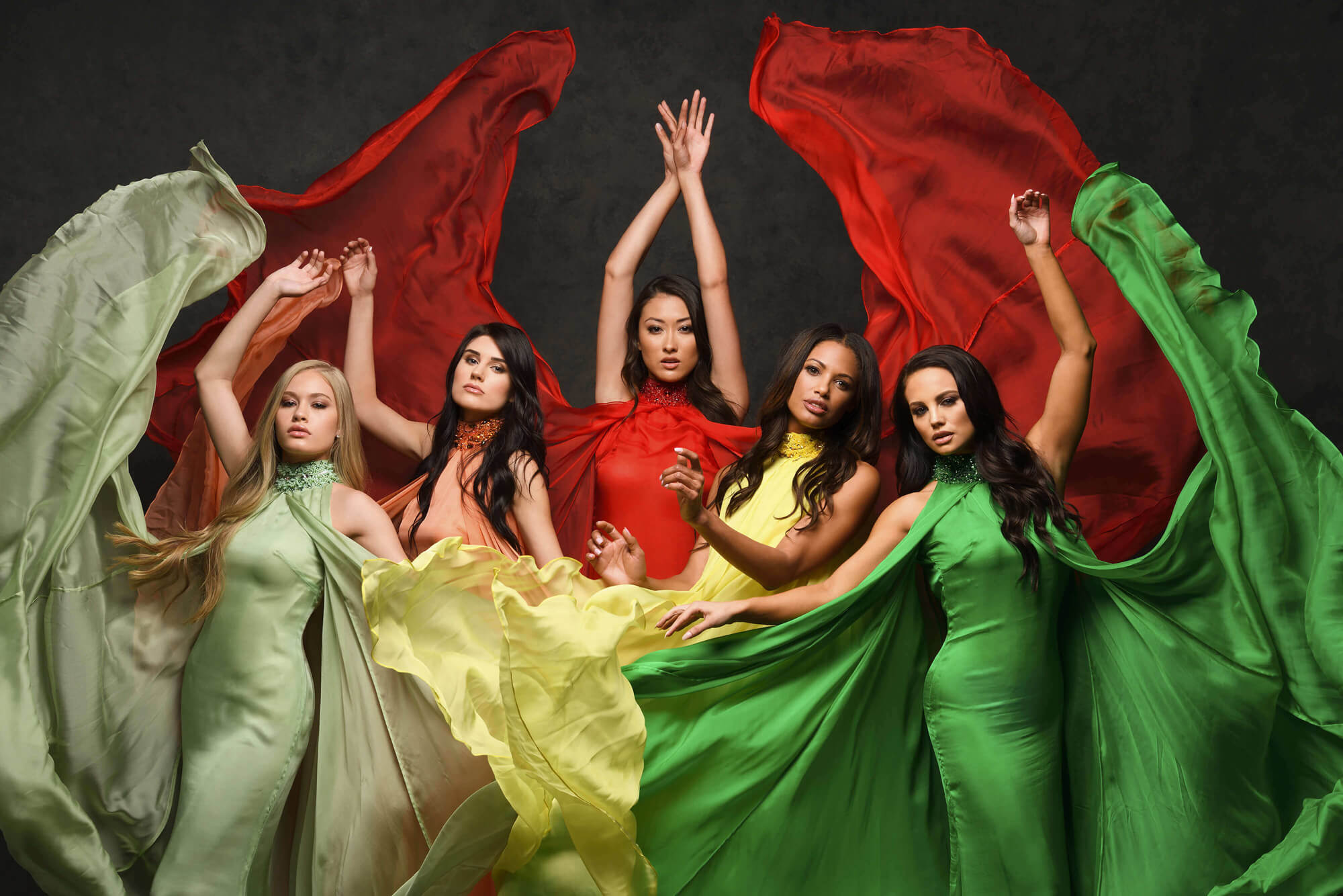 Photo of five models in colorful dresses, taken with the D850 DSLR
