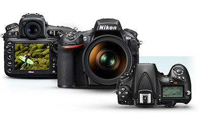 Three product shots of the D810, front, top and rear with the image of a model in a scene on the LCD