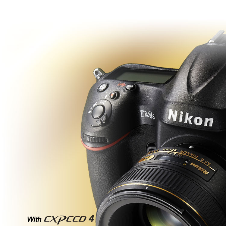 Product photo of the D4s DSLR with the 55mm NIKKOR lens attached and EXPEED 4 logo