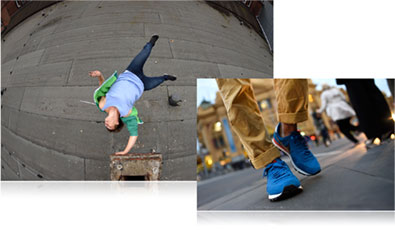 Nikon D750 photo of a male parkour athlete in air inset with a close up photo of a person's feet in a town square