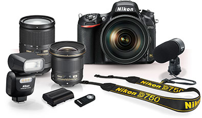 Photo showing the Nikon D750, NIKKOR lenses, Nikon SB-500 Speedlight, camera strap, battery, ME-1 stereo microphone and remote