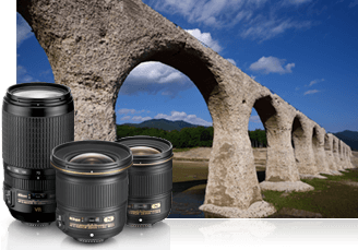 Nikon D750 photo of a landscape and stone aquaduct inset with three NIKKOR lenses