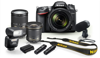 Product photos of the D7200, ME-I microphone, two lenses, SB-500 flash, strap, battery and ME-W1 wireless microphone
