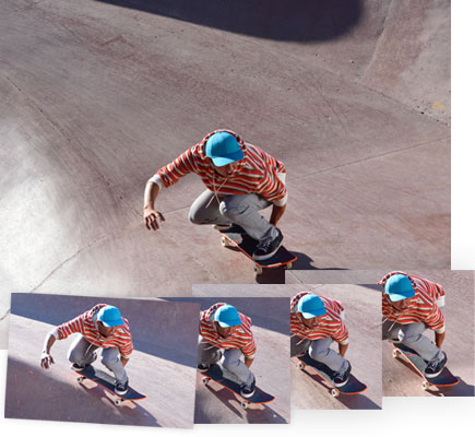 D5500 photos of a skateboarder in a pool and four consecutive frames showing speed in shooting