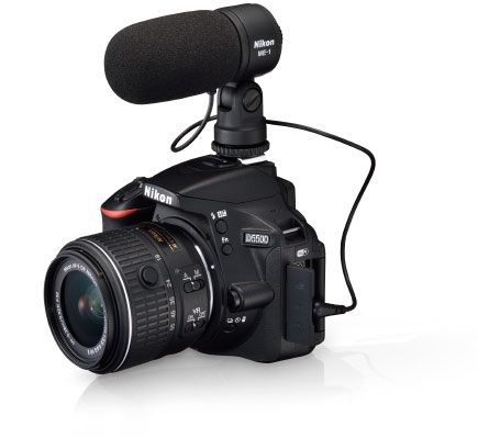 Nikon D5500 with a lens attached and ME-1 Stereo Microphone on the hot shoe